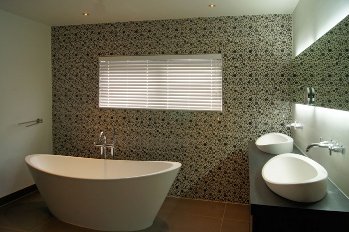 vintage style bathroom with wallpaper
