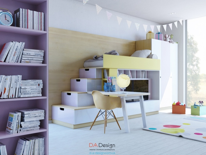 Utilize hanging bedside shelves to display in your kids' toys and collection