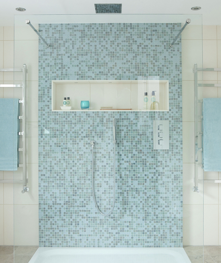 Blue mosaic tiled modern shower with rainfall shower head