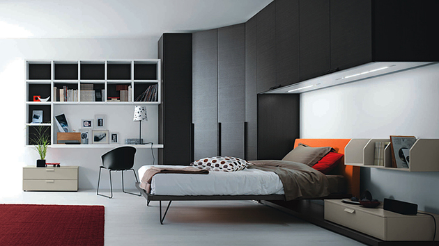 teenage boy s bedroom design with a small nice bed this bedroom has