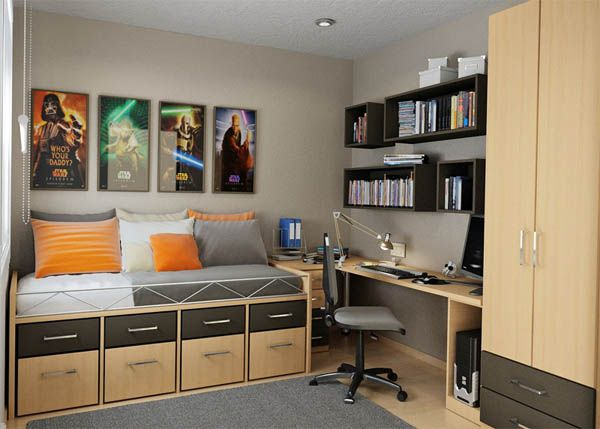 Bedroom with a wooden bed that has storage
