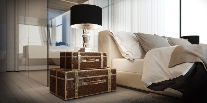 interior design with Louis Vuitton style chests