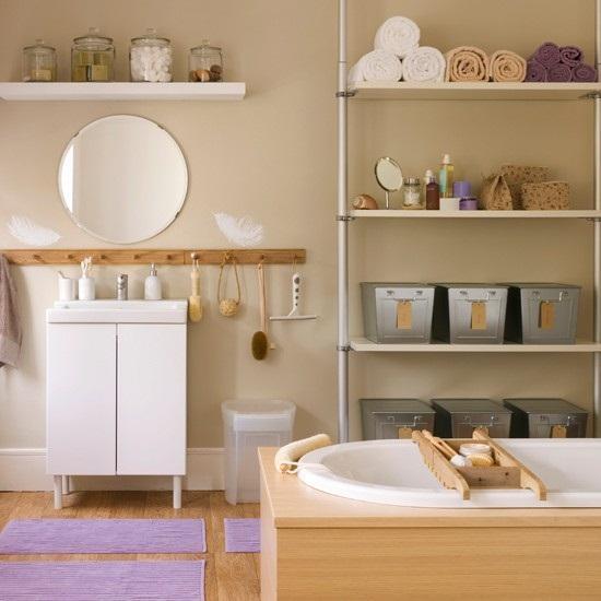 Bathroom shelf decorating idea with wall mirror