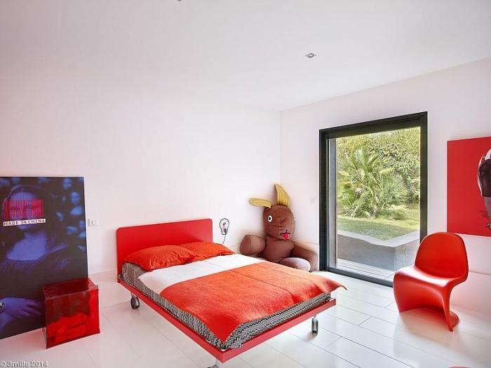 Modern sleek colorful bedroom design