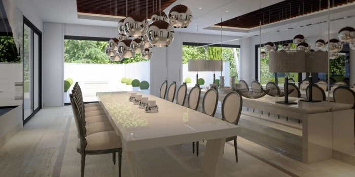 Spanish dining room with the cream, brown and white color schemes