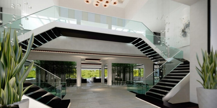 Entrance  with contemporary and stylish staircase