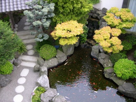 Bushes are placed around it to create a calming zen ambiance