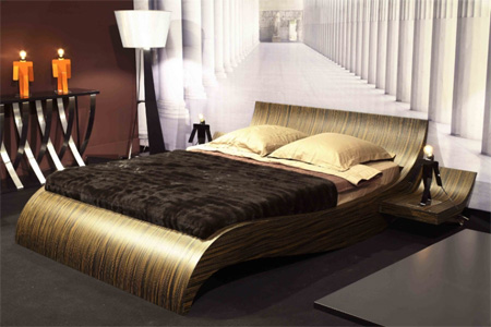 This contemporary bed is hand made in France