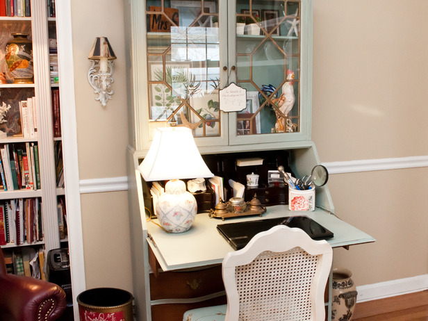 Home office with blue coastal secretary desk decorating idea