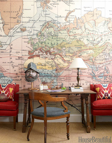 Home office with a world map wallpaper decorating idea