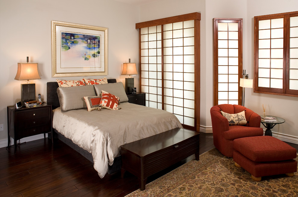 Highlighted bedroom with Japanese sliding doors