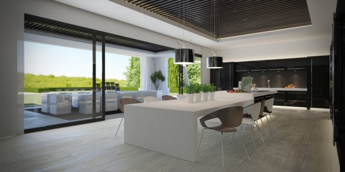 sliding door leads to the outdoor seating area