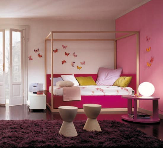 Pink kid's room with butterflies decor
