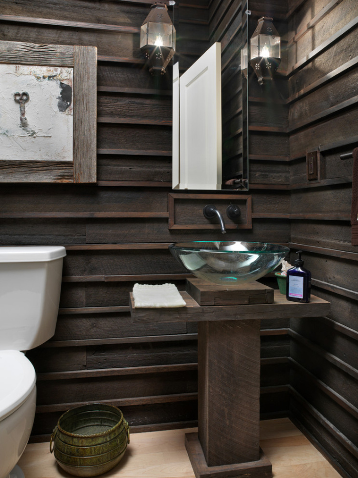 Rustic small bathroom ideas for Wood bathroom wall decor