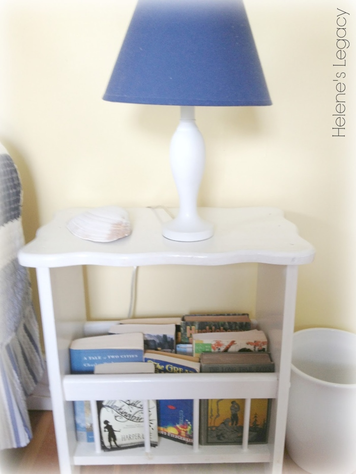 Simple white bedside table design