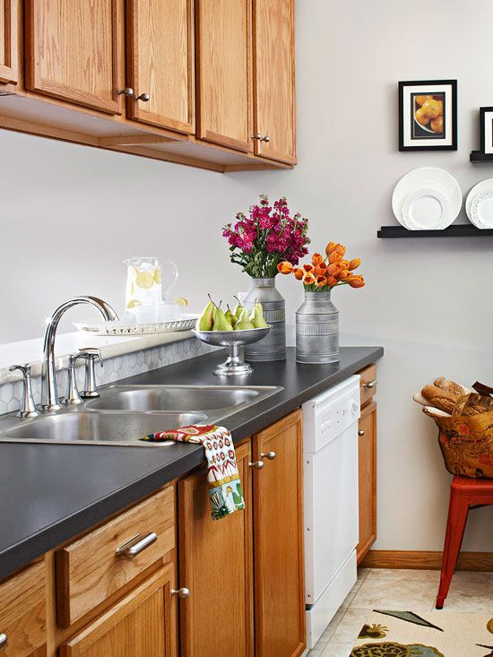 Fabulous kitchen with slate counter top design
