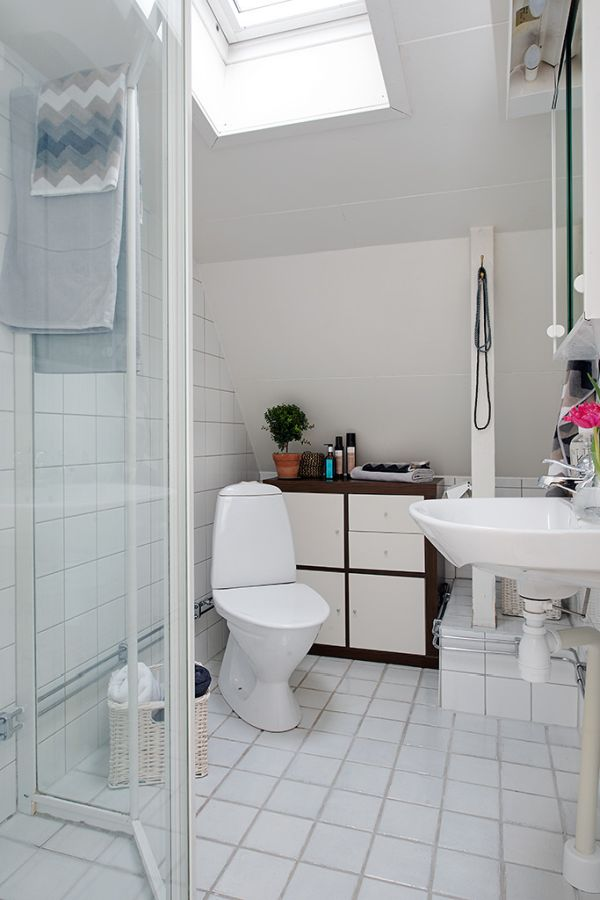 Small white attic bathroom design