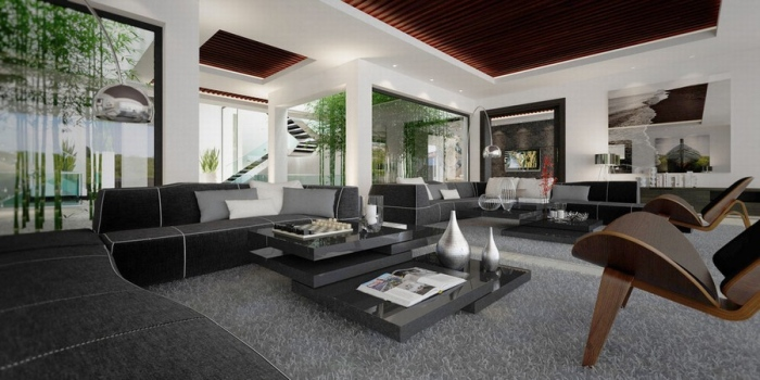 Livingroom with grey, black, silver, brown and white color schemes