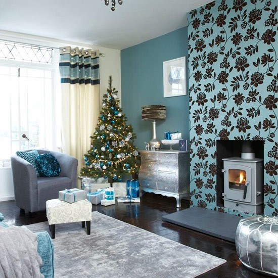 teal and silver christmas decorations