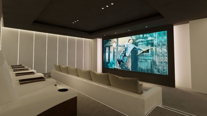 theater room with a large screen