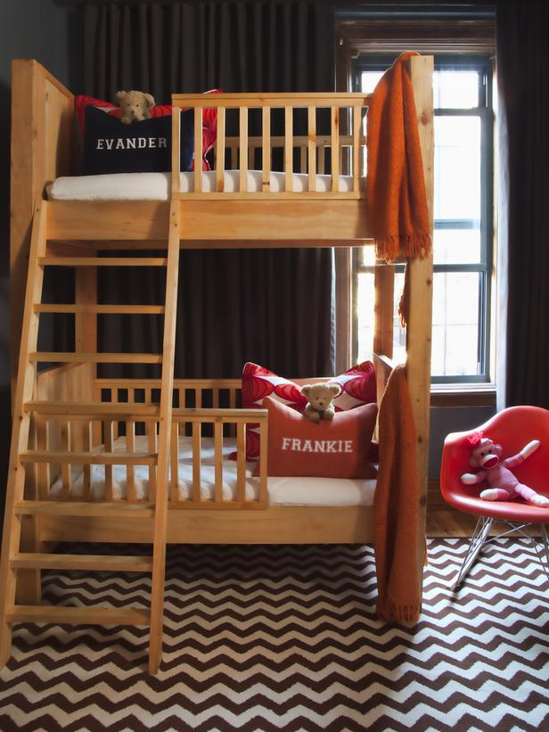 toddler's wood double deck bed.