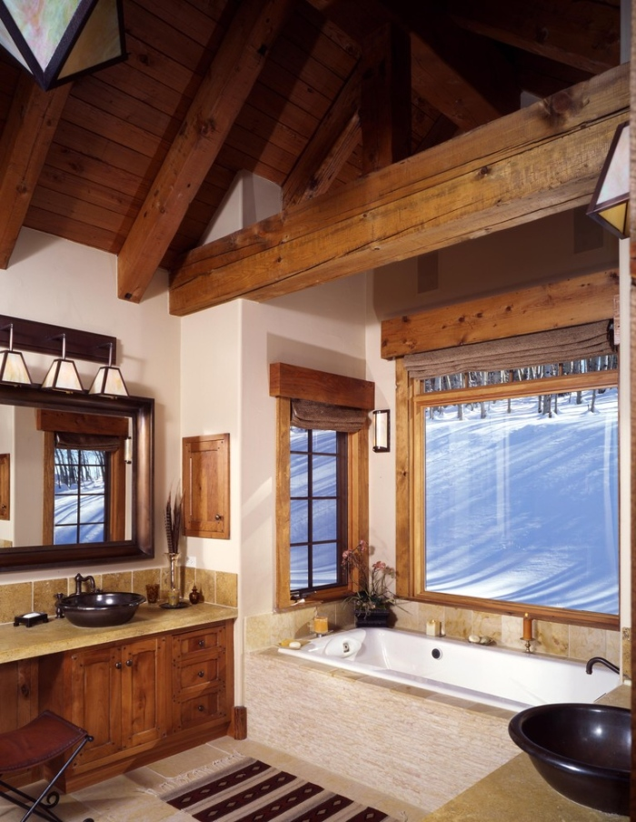Wooden accent bathroom design