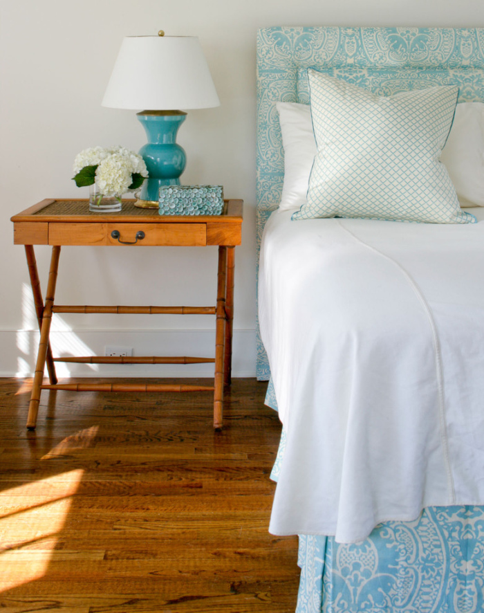 Wooden bedside table design with a drawer