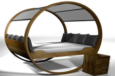 This bed has a patented rocking frame that moves back and forth