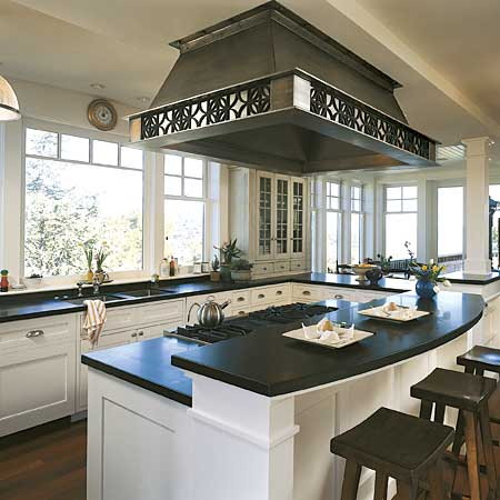 black and white kitchen island with cook top