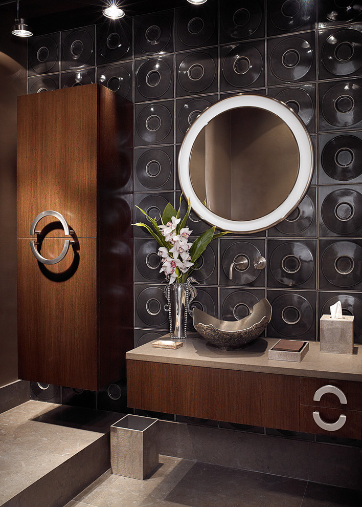 unique bathroom with round electric mirror and lighting