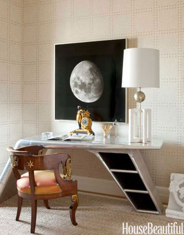 Eclectic home office with a photo of the moon