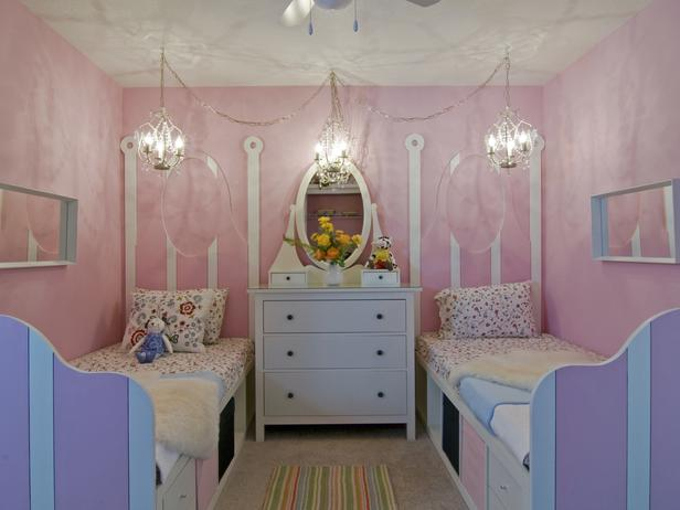 girls' twin shared bedroom.