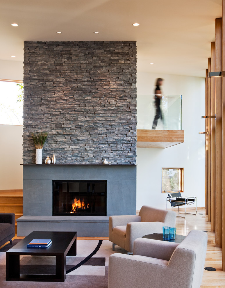 Attractive stone fireplace ideas - Living room with fireplace ...