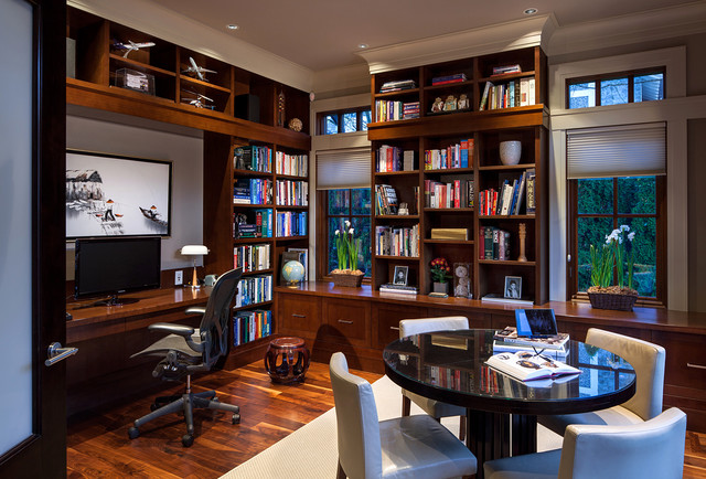 home office with books