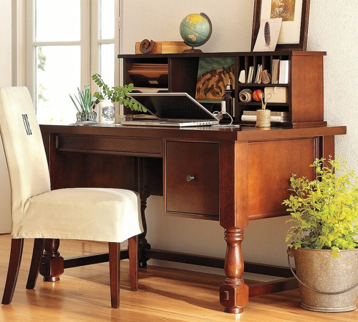 brown office desk and white office chair