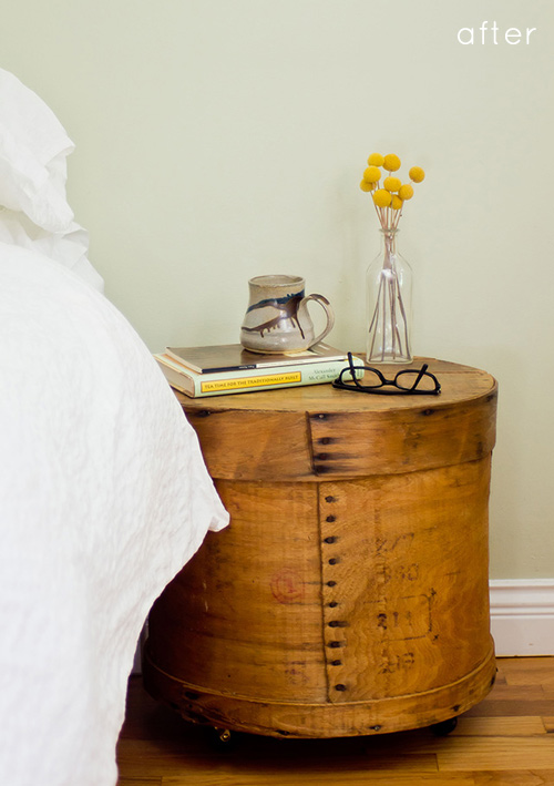 those circular shaped bedside tables