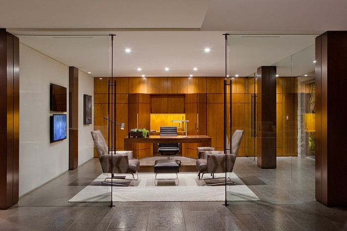 Office room with glass doors