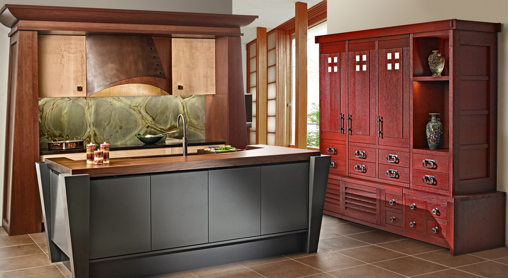 Cherry oak cabinets for the kitchen ideas for Oriental kitchen designs