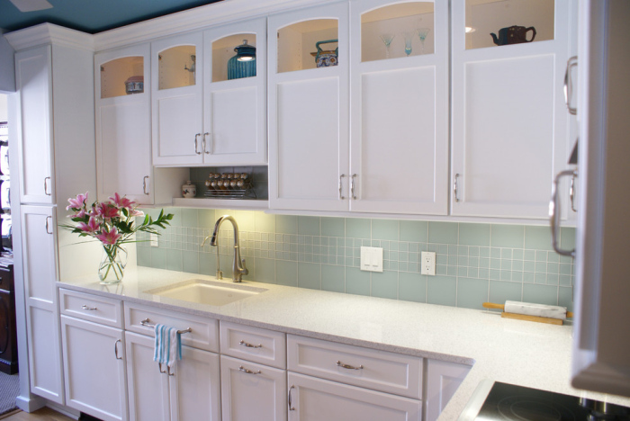 Kitchen with snow white cabinets