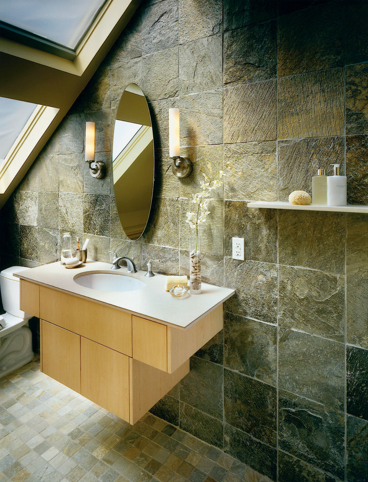 bathroom with slate walls and floor tiles idea