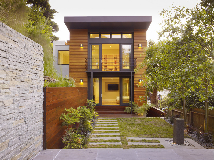 Glass structure house exterior