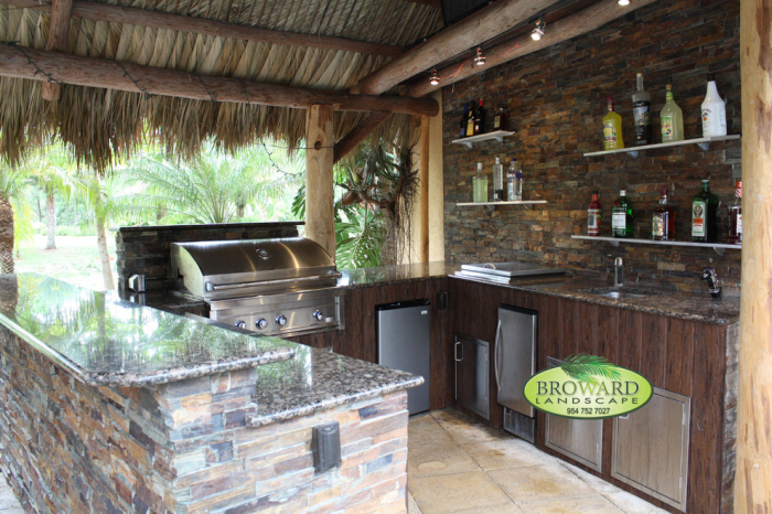 Outdoor kitchen with granite table top