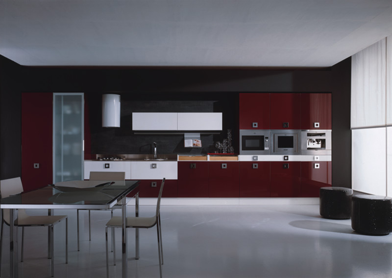 Maroon Coloured Kitchen Cabinets