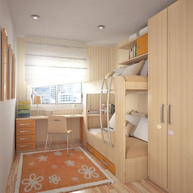 Small kid's bedroom with double deck bed