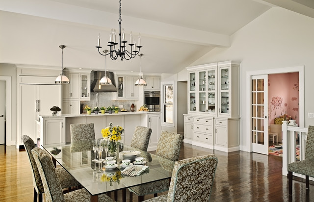 Dining room with white storage cabinets