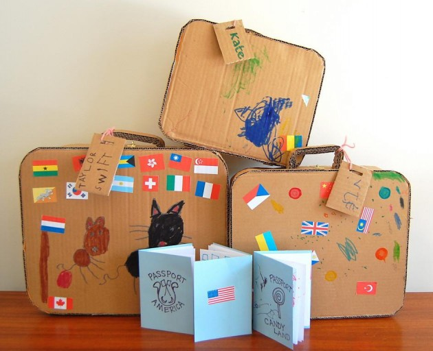 Cardboard suitcases furniture