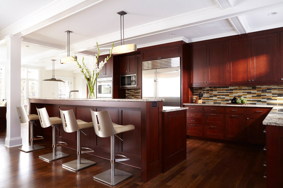 Cherry Oak Cabinets Give The Dark Hint To The Much Needed Kitchen
