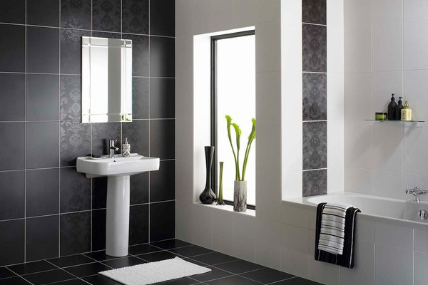 monochromatic small bathrooms designs. Black Bedroom Furniture Sets. Home Design Ideas