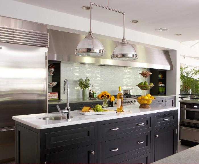 White tiny small tiles kitchen backsplash idea