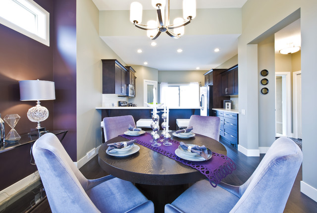 Dining room with a purple table mat